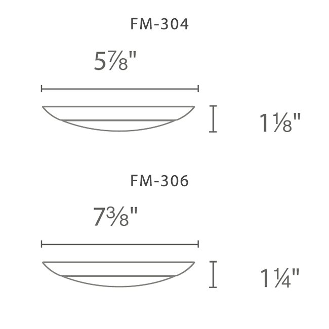 WAC FM 304 & 306 series LED fixture dimensions