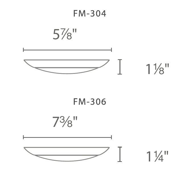 WAC FM 304 & 306 series LED fixture dimensions